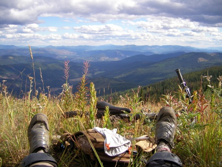 Resting on Seven Summits Trail, Rossland, BC.