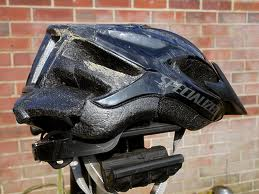 bike crash on head = broken bike helmet = time to replace bike helmet
