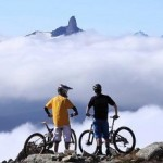 """Riding the trail """"Top of the World"""" accessed via Whistler's Peak Chair, opening 2012 to mountain bikes"""