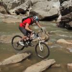 chris akrigg is back mountain biking after suffering from a broken femur last year