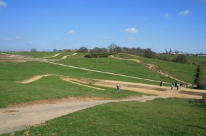 the wide open mountain bike course for the 2012 london olympics Hadleigh Farm in Essex