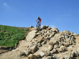 man made rock gardens make the 2012 olympic mountain bike race venue challenging Hadleigh Farm in Essex