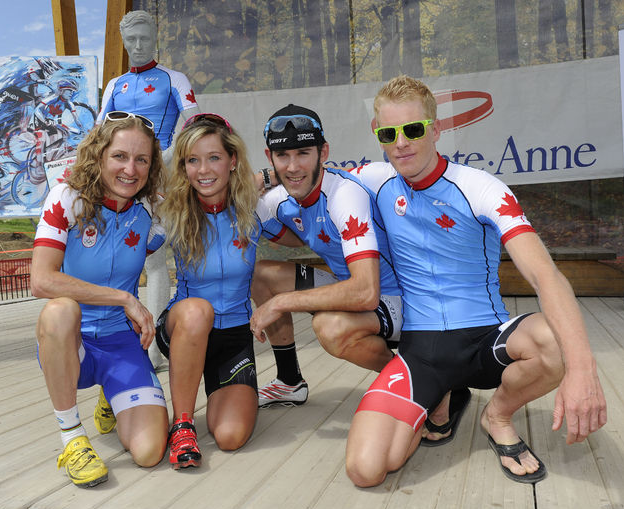 Canadian Olympic Mountain Bike Team announced at Mons-Saint-Anne on Wednesday.  (From left to right) Catherine Pendrel, Emily Batty, Geoff Kabush, Max Plaxton