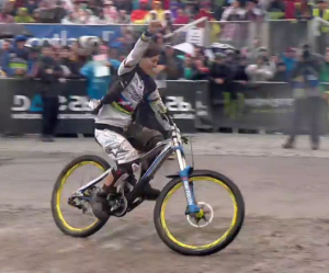 emmeline ragot takes the win at the 2012c  fort william downhill world cup mountain bike race
