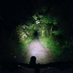 mountain biking at night by helmet light