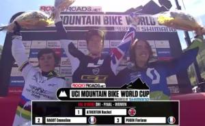 women's top three in val d'isere france 2012 world cup mountain  biking dh winner: rachel atherton