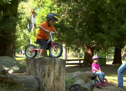kids doing tricks on run bikes (otherwise known as balance bikes, strider bikes, or push bikes)