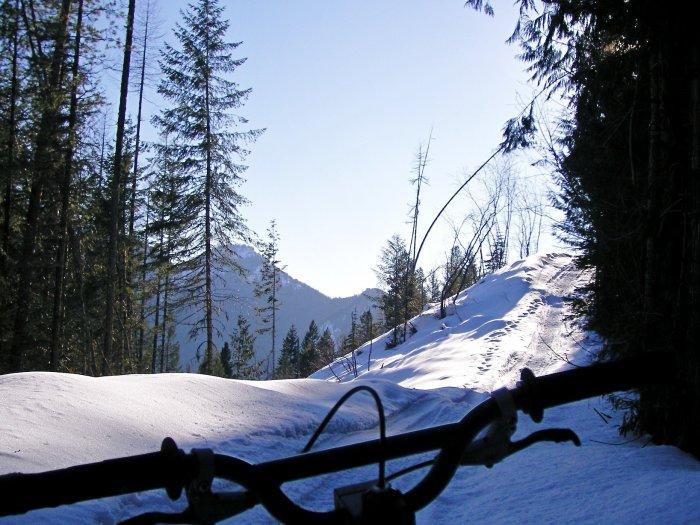Mountain biking on snowmobile trails, british columbia
