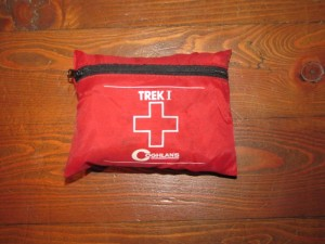 mountain biking first-aid kit carried in my pack while out on the trail