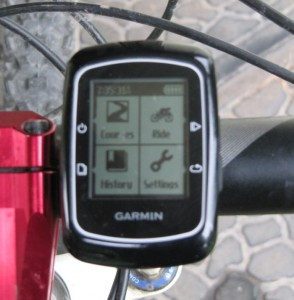where my garmin edge 200 bike computer mounts on my mountain bike's handlebars