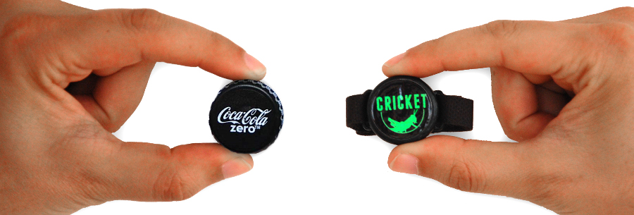 the cricket is about the size of a bottle cap