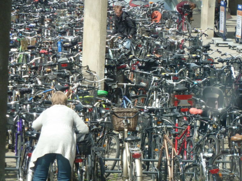 bike parking in copenhagen, denmark