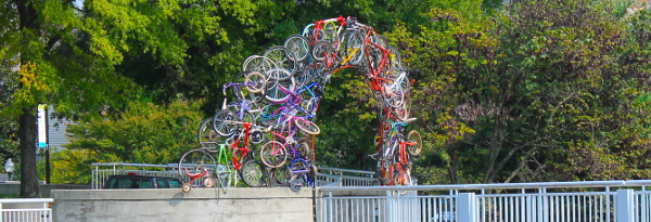 knoxville tennesse outdoor arch made out of bicycles